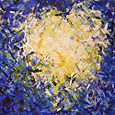 05 - Blue Feather Heart - 20x20